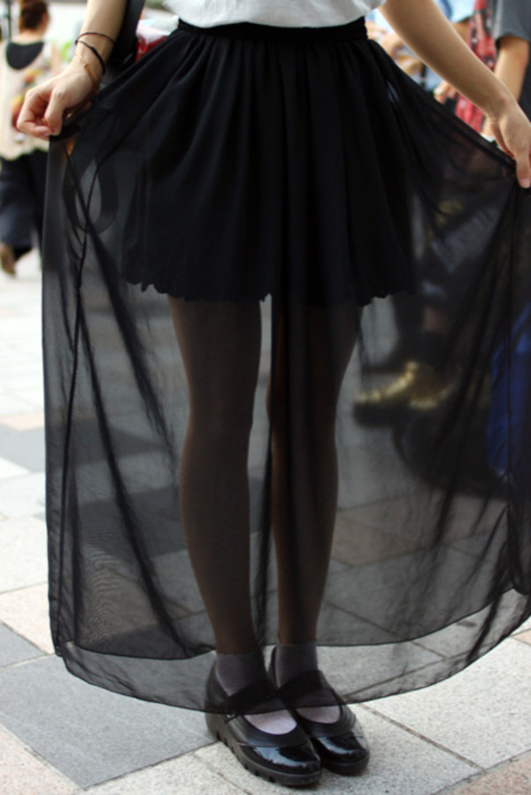 skirt black mesh maxi long
