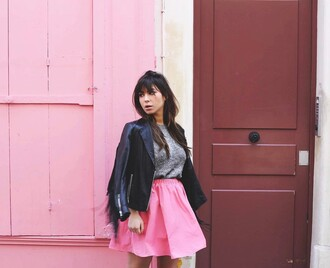 skirt french girl mini skirt pink skirt top sweater grey jacket black jacket black leather jacket leather jacket