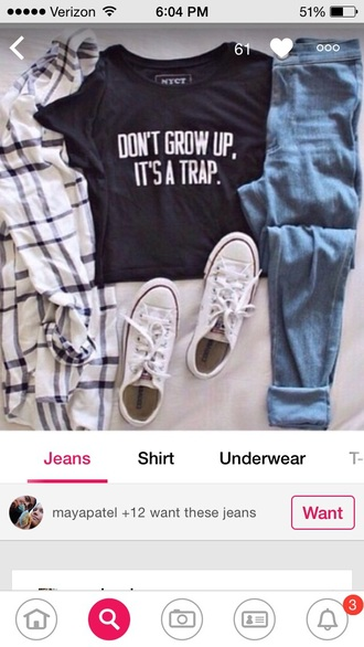 cardigan black and white don't grow up its a trap white black converse white converse stripped shirt flannel shirt light blue jeans crop tops top jeans home accessory shoes