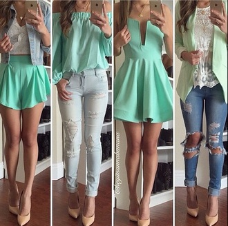 dress turquoise mint blouse