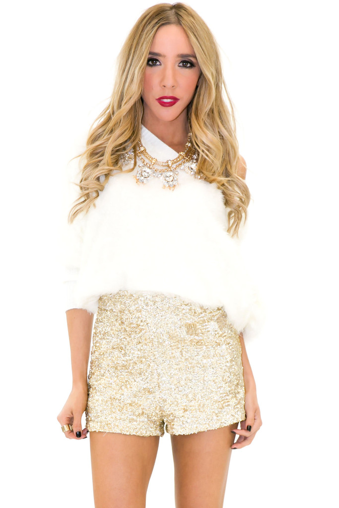 VELA SHAG FUR SWEATER - White | Haute & Rebellious