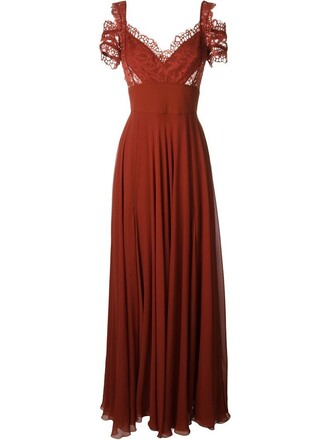 gown lace red dress
