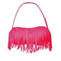 Gemelli Shimmy Fringe Bandeau Bikini Top Pink | Gemelli
