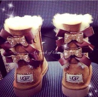 shoes uggs boots brown cute bows