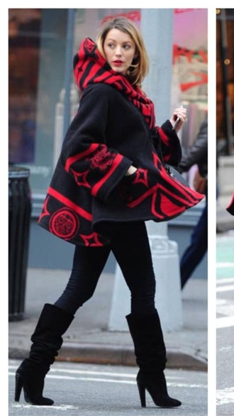 black slouch boots blake livelylu poncho blake lively coat red black cape cape coat