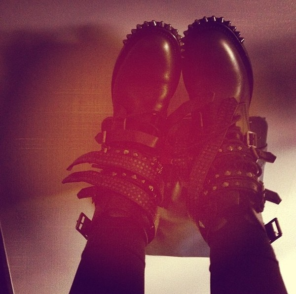 shoes combat boots spikes buckles leather black boots