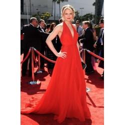 Jennifer morrison red halter formal prom dress 2012 creative arts emmy awards red carpet