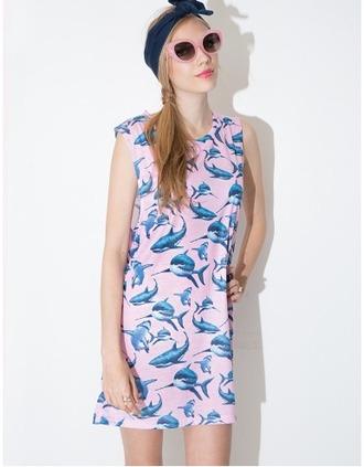 dress cute shift dress shark sharks jaws pink blue pink and blue sleeveless summer summer dress pixie market pixie market girl