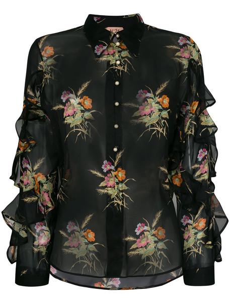 No21 blouse sheer women floral print black silk top