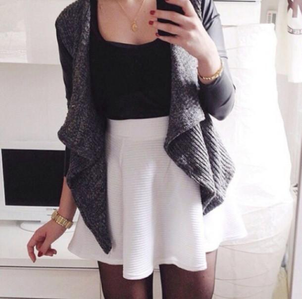 White Cardigan Black Skirt 85