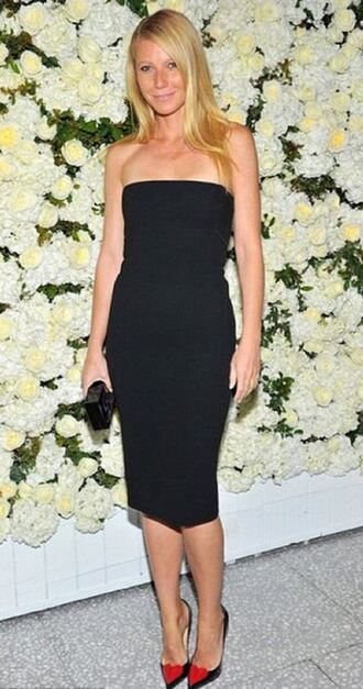 dress strapless gwyneth paltrow black dress pumps shoes