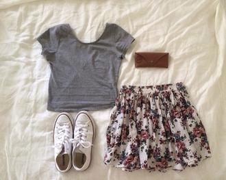 skirt shirt grey shirt floral skirt grey