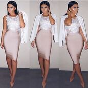 dress,amrezy,pastel,embroidered dress,white,embroidered,skirt,bandage skirt,nude,nude skirt,pencil skirt,top,pink,white top,crop tops,beige shoes,white jacket