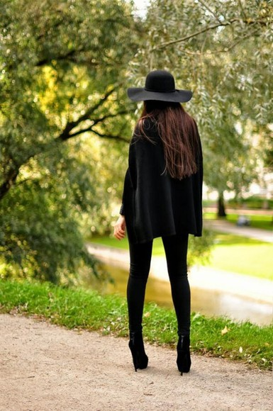 hat black hat floppy hat all black