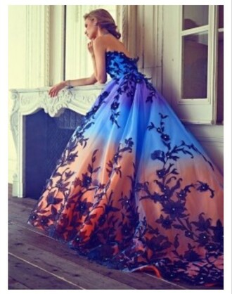 dress sunset color dress prom dress prom pretty flowers ombre gown ball gown dress homecoming blue teal coral floral beaded dress blue dress strapless strapless dress ombre dress girly orange prom2016 prom2k16 dresses evening beautiful multicoloured dress orange sunset rainbow sunset long dress sleeveless