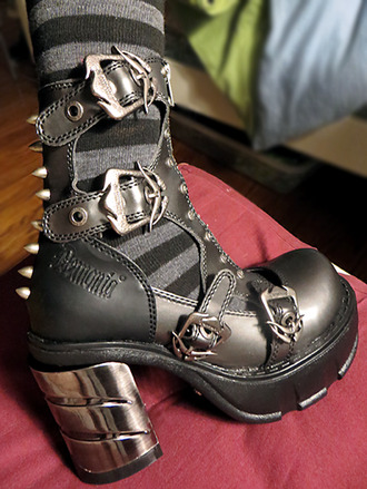 shoes demonia boots goth studded studded shoes black heels