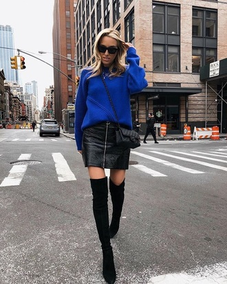sweater blue sweater knit black skirt leather skirt knitwear knitted sweater skirt mini skirt