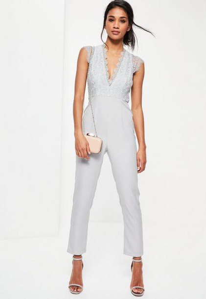 Missguided Grey Lace Sleeveless Plunge Romper