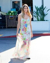 dress,ashley greene,summer dress,summer outfits,maxi dress,floral maxi dress