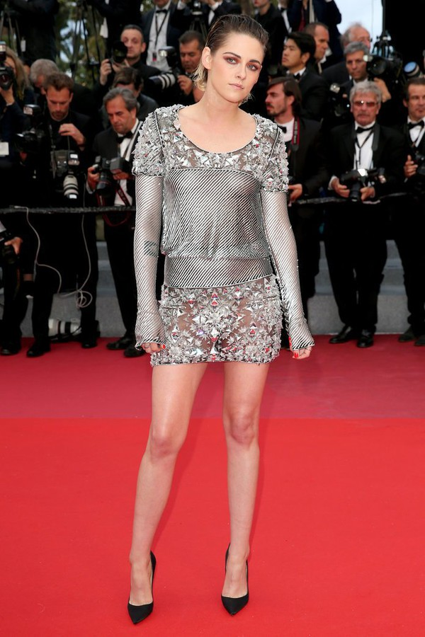 dress silver mini dress pumps long sleeve dress metallic red carpet red carpet dress kristen stewart cannes shoes