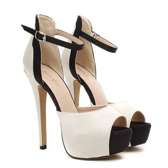 shoes fashion black and white high heels gorgeous satin and color block design women's sandals sexy footwear white black pumps