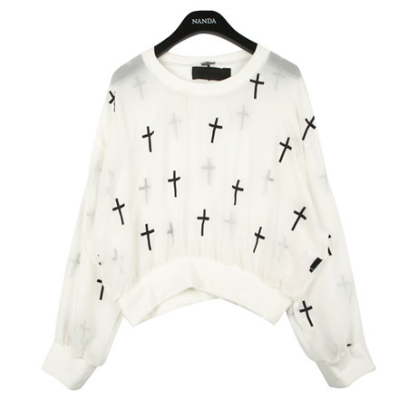Cross Patterned Sheer TEE | FashionShop【STYLENANDA】 on Wanelo