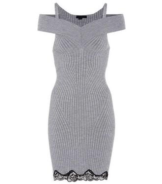 dress silk wool grey