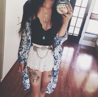 top cardigan skirt lace top shorts lace shorts