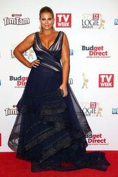 dress,gown,blue dress,maxi dress,fiona falkiner,model,curvy,plus size,plus size prom dress