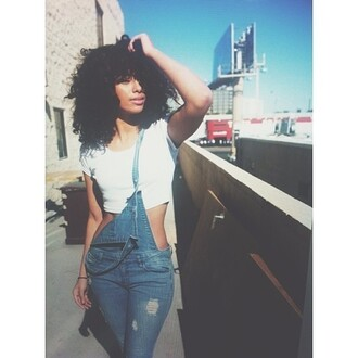 jumpsuit overalls jeans denim overalls denim pretty tumblr tumblr outfit cute model sexy blue ripped jeans ripped denim