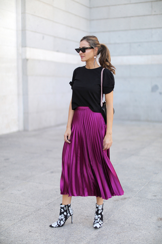 shoes cat eye tumblr boots ankle boots floral floral boots skirt midi skirt pleated pleated skirt top black top sunglasses