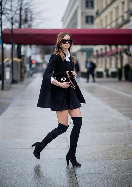 vogue haus blogger shirt dress shoes bag fall outfits gucci bag boots over the knee boots black boots