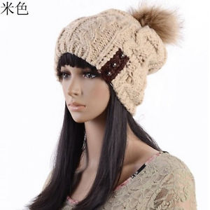 Straight Three Button Wool Cap Thick Warm Fur Ball of Women Knit Winter Hat | eBay