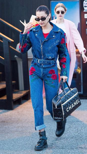 jeans jacket denim jacket flowers bella hadid streetstyle model off-duty spring jacket