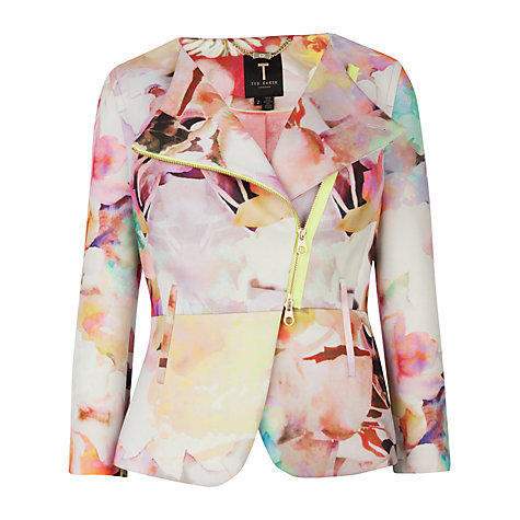 Buy Ted Baker Saamsa Electric Daydream Biker Jacket, Print | John Lewis