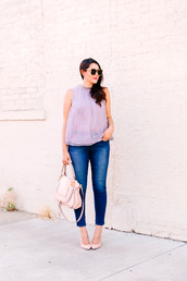 kendi everyday,blogger,top,jeans,sweater,violet top,sleeveless top,tortoise shell,tortoise shell sunglasses,cat eye,chloe bag,white bag,blue jeans,skinny jeans,pumps,pointed toe pumps,pink pumps,spring outfits