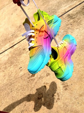 shoes huarache nike custom shoes rainbow sneakers rainbow shoes rainbow sneakers tennis shoes sports shoes nike free run nike shoes hurraches this haurache nike running shoes ombre mulit-color nike air