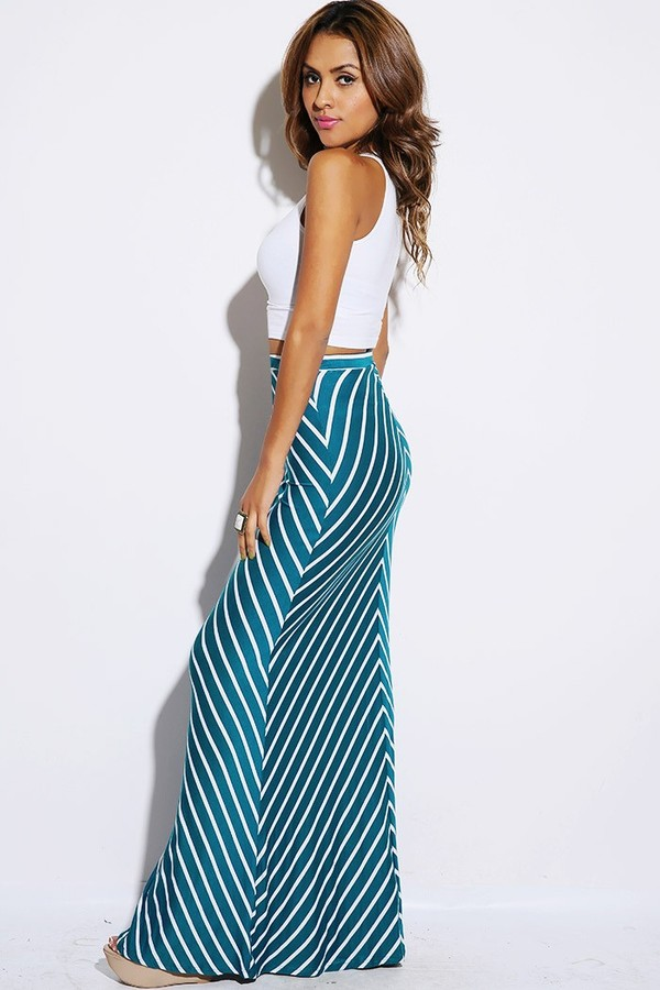 skirt stripped maxi skirt high waisted sexy long teal bdelish