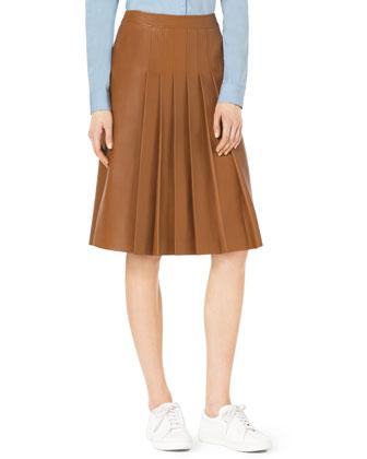 Michael Kors Knee-Length Pleated Leather Skirt - Michael Kors