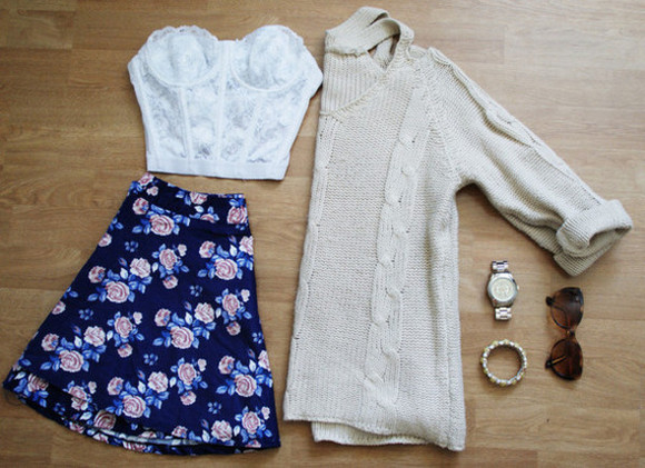 skirt floral skirt floral sweater cute outfit cute girly girly outfit knit sweater outfit knit bustier pretty pretty outfit tank top