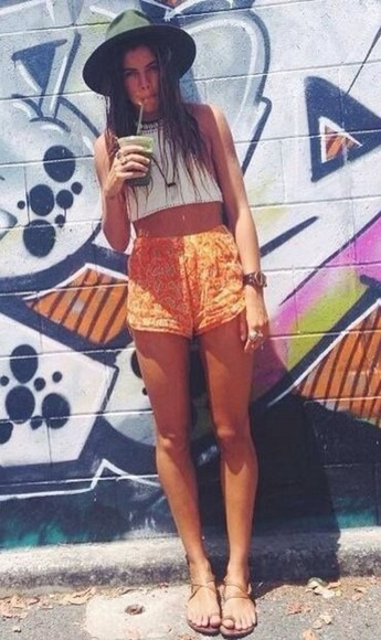 shorts orange shorts summer outfits orange printed shorts