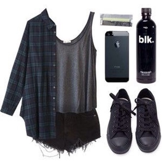 shirt grey muscle top dark flannel black shorts jacket shorts