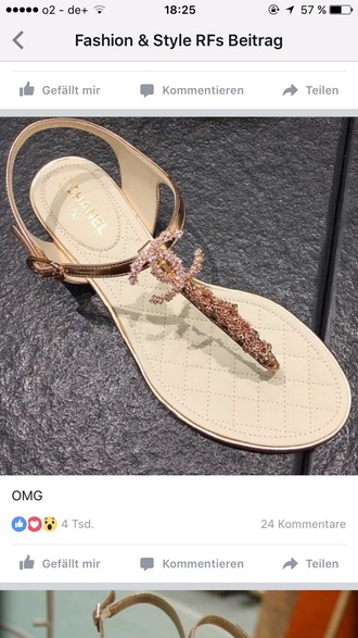 shoes chanel flat sandals gold