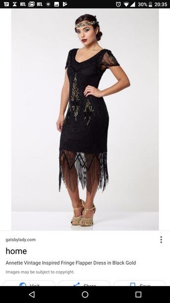 dress black and gold flapper dress