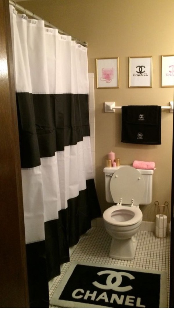 Home Accessory Bathroom Rug Shower Curtain Towels Chanel