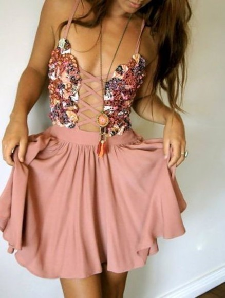 open front pink dress corset front dress laced up floral floral print dress floral dress pastel flowers beautiful pink scandalous trendy floral cute lace up corset