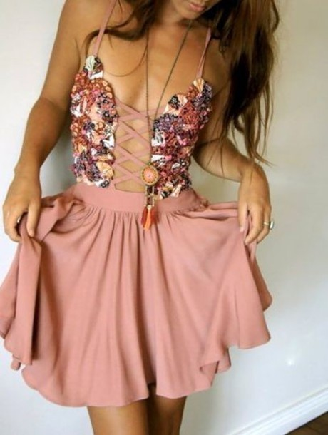 pink dress open front corset front dress laced up floral floral print dress floral dress pastel flowers beautiful pink scandalous trendy floral cute