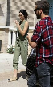jumpsuit,flats,olive green,kendall jenner
