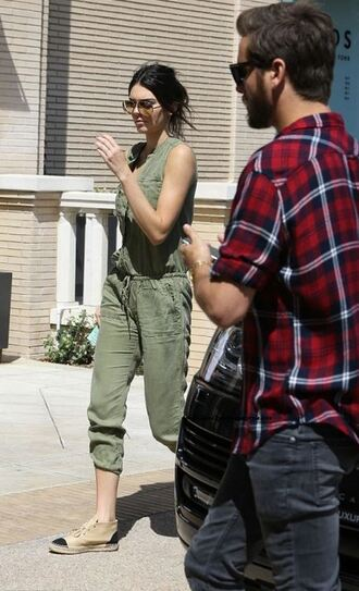jumpsuit flats olive green kendall jenner
