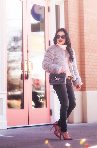 cute & little blogger jeans belt shoes jewels bag sunglasses faux fur jacket gucci bag pumps gucci belt turtleneck sweater winter outfits